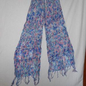 Blue pink green floral fringe scarf